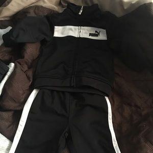 Baby puma track suit black & white
